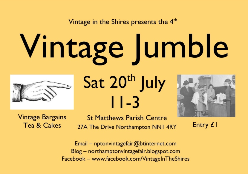 Vintage Jumble poster - Saturday 20th July 2013 in Northampton