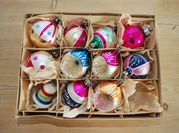 vintage glass christmas baubles from Lost Property Vintage