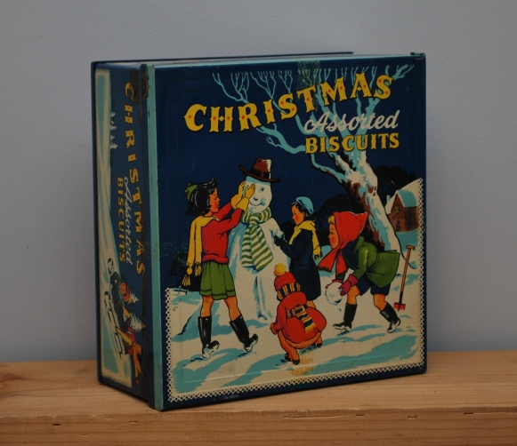 vintage christmas biscuit tin from Lost Property Vintage