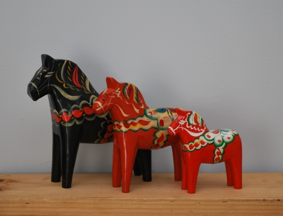 vintage Nils Olsson dala horses from Lost Property Vintage