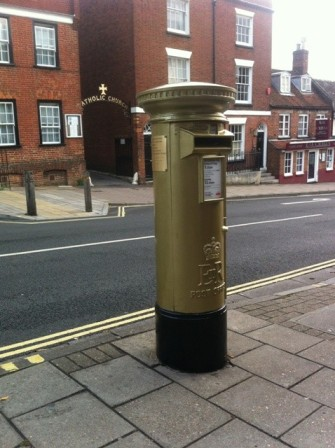 Olympic gold post box in Lymington - picture by Lost Property Vintage