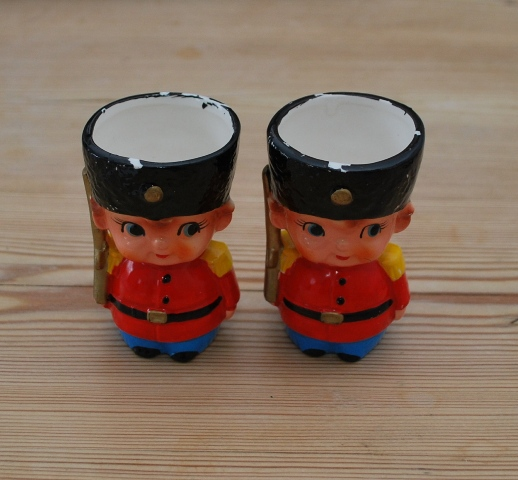 Vintage Soldier Egg Cups from Lost Property Vintage